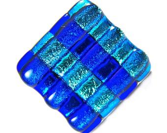 Diamond Dichroic Glass Knob - Drawer Pull Handle Kitchen Bath - Stripes Cobalt Blue Silver Teal Striped Metallic Fused Glass - Custom Made