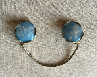 Vintage Blue and Gold Toned Sweater Clip w/Rose Design