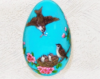 RESERVED for E. Sparrows on a blossoming tree. Goose egg. Pysanka.