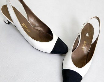 Vintage 1980s Bally White and Black Slingback Heels Size 6