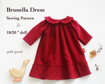 "Sewing Pattern and Tutorial for Peter Pan Collar Dress for 18-20"" Doll"