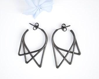 Geometric Earrings   Minimalist Earrings   Urbs collection   Oxidized Silver Earrings    Black Triangle Earrings   Gift for her