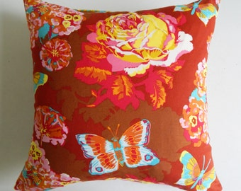 Brown and Pink Floral Pillow Cover - Bright Colorful Boho Cushion - Cottage Chic Decor