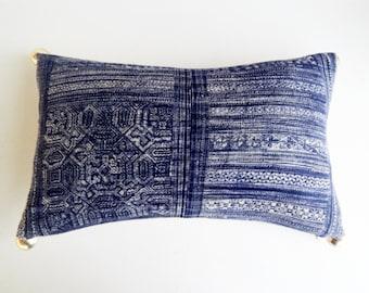 Indigo Batik Hmong Pillow Cover with Silver Balls - Modern Bohemian Throw Pillow - Navy Boho Pillow