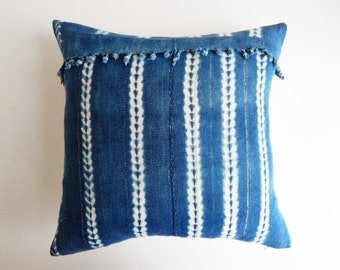 Vintage African Indigo Mud Cloth Pillow Cover with Fringe and Metallic Threads - Ethnic Boho Pillow Cover