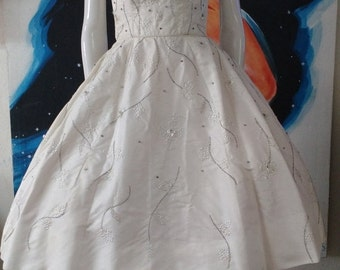 SALE 1950's RAPPI White Beaded Rhinestones Reverse Halter Party Dress WEDDING Prom Designer Small Xs Rockabilly Vlv