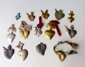 Vintage Mexican Milagros Fourteen Sacred Hearts
