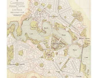 Vintage Canberra 1913 Map Reproduction