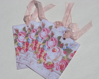 Shabby Chic Rose Hang Tags Victorian Set of 4