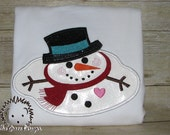 Melting Snowman - Embroidered Applique t-shirt