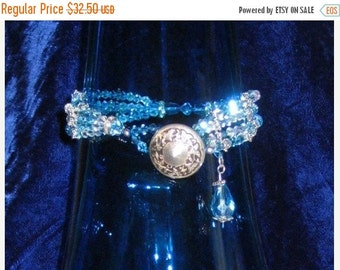 Sale Pre Holliday Beautiful Swarovski Crystal and Vintage Button Bracelet Turquoise  and Sterling Silver