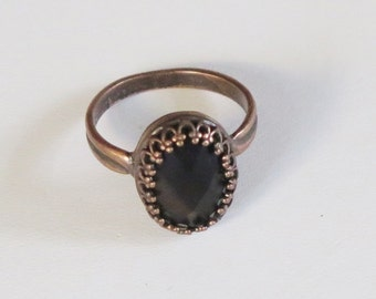 Ring -  Copper Metal Band and Setting - Black Onyx Checkerboard Detail  Bead - Oval Bead - Prong Set