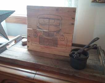 Reclaimed Wood Pallet Wood Line Drawing Natural Beige Rustic 1946 Chevrolet Man Cave Garage Chrome Grill