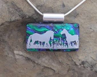 Horse Necklace Dichroic Fused Glass Pendant Horse Jewelery