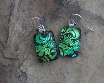 Green and Blue Plume Fused Dichroic Glass Earrings