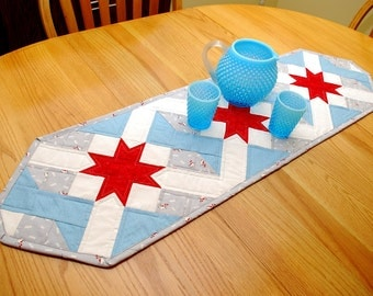 Winter Table Runner - Red, Gray and Blue Quilted Star Christmas Runner