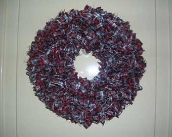 Red, white and blue OOAK plaid Fabric wreath 10""