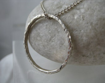 Sterling Silver Textured Circular Pendant Necklace - Full UK Hallmarks - Handmade By CMcB Jewellery