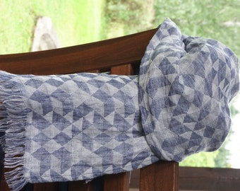 Linen Scarf with geometrical triangle--blue and white colors-Natural-Pure Linen