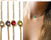 20 off. Choker Necklace. Bezel Set Birthstone Necklace. Gold or Silver. Tiny Square. Crystal Quartz. Birthstone Jewelry.