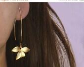 SALE: Flower Earrings.  Wild Orchid. Solo Flower Earrings in Gold or Silver. Single Orchid on A Long Earwire.