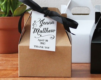 Wedding Favor Gable Boxes - Jenna Design - Favor Hang Tag - bridal shower favor box |  Personalized favor box - ANY OCCASION