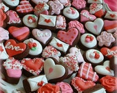 Valentines Day cookies - 2, 3, or 4 dozen MINI Valentine Cookies - Heart cookies - Flower cookies - chocolate cookies