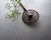 Dreamcatcher Pearl Necklace, Copper Rustic Dreamcatcher Pendant, Tribal Jewelry, Boho Dreamcatcher Necklace