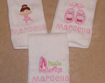 Personalized Ballet Burp Cloth Set - 3-piece