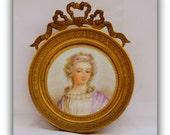 """SOLD/// Antique French Miniature Portrait of an """"Unknown""""  Lady - Paris Flea Market Find-Hand painted Porcelain"""