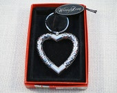 Whiting & Davis Silver Tone Mesh Heart Key Chain Keychain with Original Box and Tag