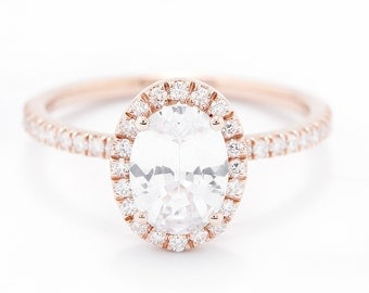 CERTIFIED - GIA Certified Oval White Sapphire & Diamond Halo Engagement Ring 14K Rose Gold