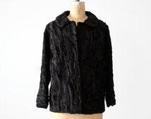 SALE antique Persian lamb fur coat, 1900s black fur coat