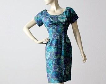 SALE 1950s watercolor print wiggle dress, vintage blue floral dress