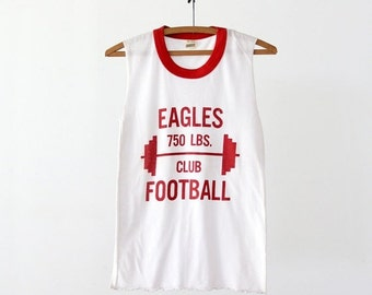 SALE vintage 80s muscle tee, Eagles football ringer t-shirt