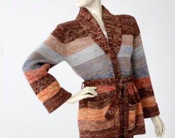 1970s wrap cardigan, vintage striped hippie sweater