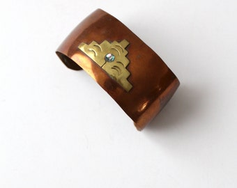vintage Mexican copper cuff with brass and shell