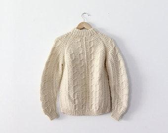 SALE vintage fisherman sweater / 1970s cream chunky sweater