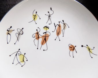 1950s Atomic Figurative Noritake cup and plate / Toki Kaisha / dancers