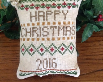"8th in series ""2016"" Cross-stitched pillow ornament"