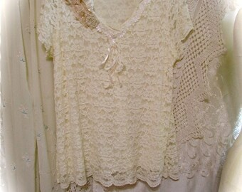 Shabby Lace Top, feminine soft cream stretchy lace fabric, shabby n chic romantic Womens lace top altered womens Clothing, XL, X LARGE