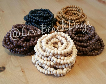Two Stacking Bracelets: TWO Wood Beaded Stretchy Stackable Bracelets
