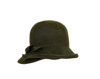 Ophelie Green Fur Felt Cloche Hat, Womens 1920s Hat