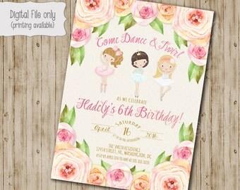 Flower Ballerina Birthday Invitation, Ballet Birthday Invitation, Ballerina Invitation, Ballerina Party, Watercolor, BOHO, Ballerina, tutu