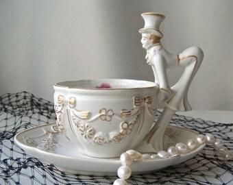 Vintage Tea Cup and Saucer Shofu Porcelain Occupied Japan Teacup & Saucer Gentleman in a Top Hat Gold Trim Wedding Gift Vintage 1940s