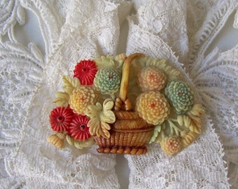 Vintage Celluloid Brooch Flowers In a Basket Chrysanthemum Celluloid Flowers Vintage Jewelry 1930s Gift For Mom