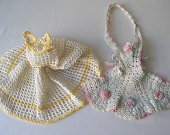 Vintage Doll Clothes Crochet Apron Pale Mint Green Pink Flowers Crochet Sun Dress Yellow Trim 1960s