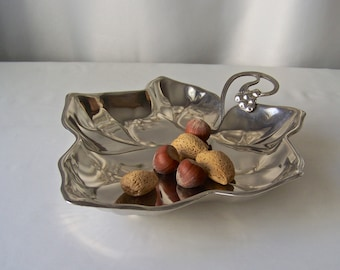 Vintage Leaf Serving Dish Stainless Steel Footed Nut Dish 1990s