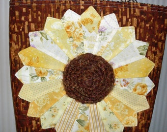 Sunflower Tote Handbag Cotton Handmade Shoulder Strap Lined Dresden Plate