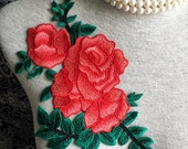 Vintage Applique - 1 pcs Red Rose Applique for Altered Couture, Costume Design(A308)
